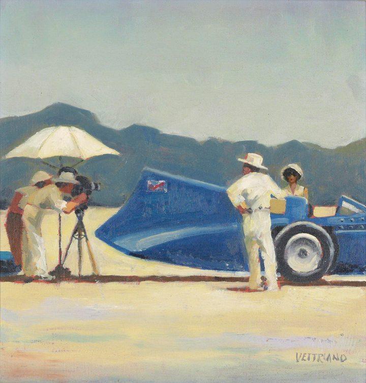 "Jack Vettriano, ""Study for 'Bluebird at Bonneville'"" (1996), oil on canvas-board, 11 3/4 x 11 3/4 inches (image courtesy Christie's)"