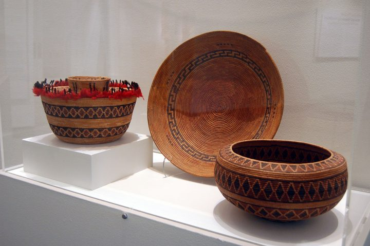 Chai donation baskets on view (image courtesy The Bruce Museum)