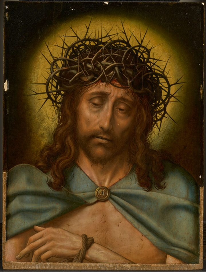 """Quentin Metsys, """"Christ as the Man of Sorrows"""" (c. 1520–30), oil on panel, 19 1/2 x 14 1/2 inches [pre-conservation] (image courtesy the Getty Museum)"""
