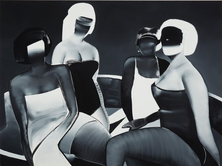 "Tomoo Gokita, ""Club Mature"" (2015), acrylic gouache on linen, 76 x 102 inches (image courtesy Phillips)"