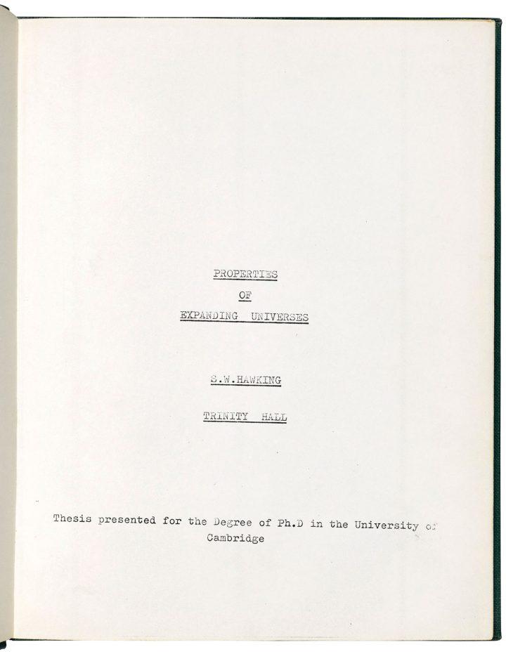 "Stephen Hawking, ""This dissertation is my original work"" (October 15, 1965) (image courtesy Christie's)"