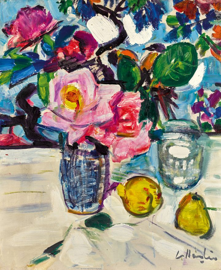 "George Leslie Hunter, ""Still Life with Roses and Fruit,"" oil on canvas,18 x 15 inches (image courtesy Sotheby's)"