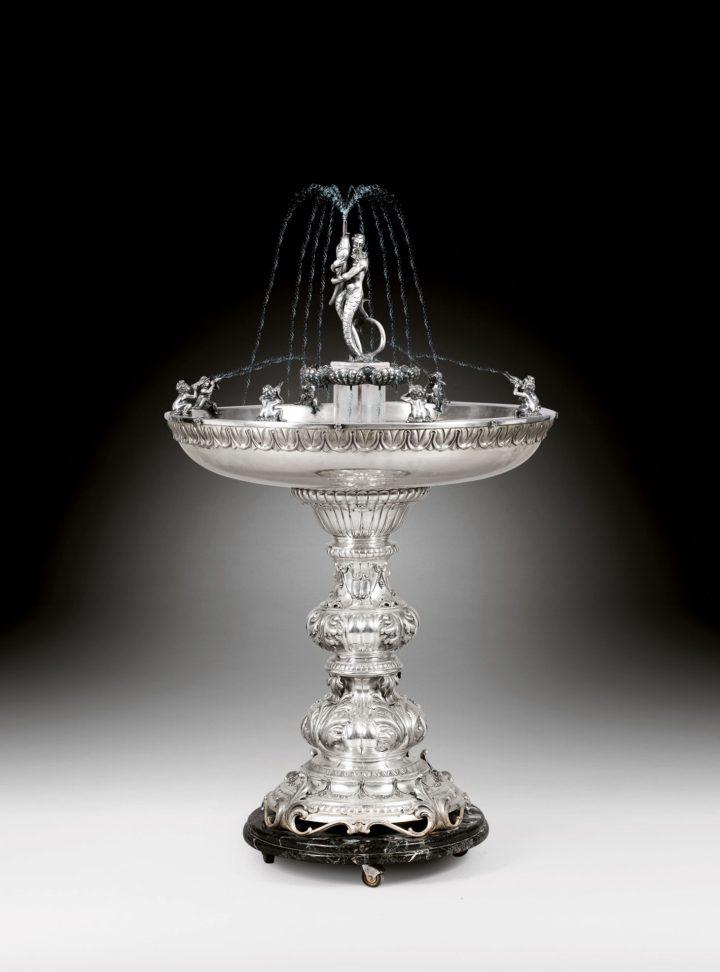 Guido Fiorentini, a large Italian silver fountain, Milan (c. 1950), 145 centimeters, about 60 kilograms (image courtesy Sotheby's/ArtDigital Studio)