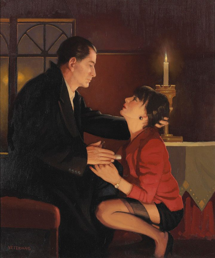 """Jack Vettriano, """"Heaven on Earth"""" (1999), oil on canvas, 24 x 19 3/4 inches (image courtesy Christie's)"""
