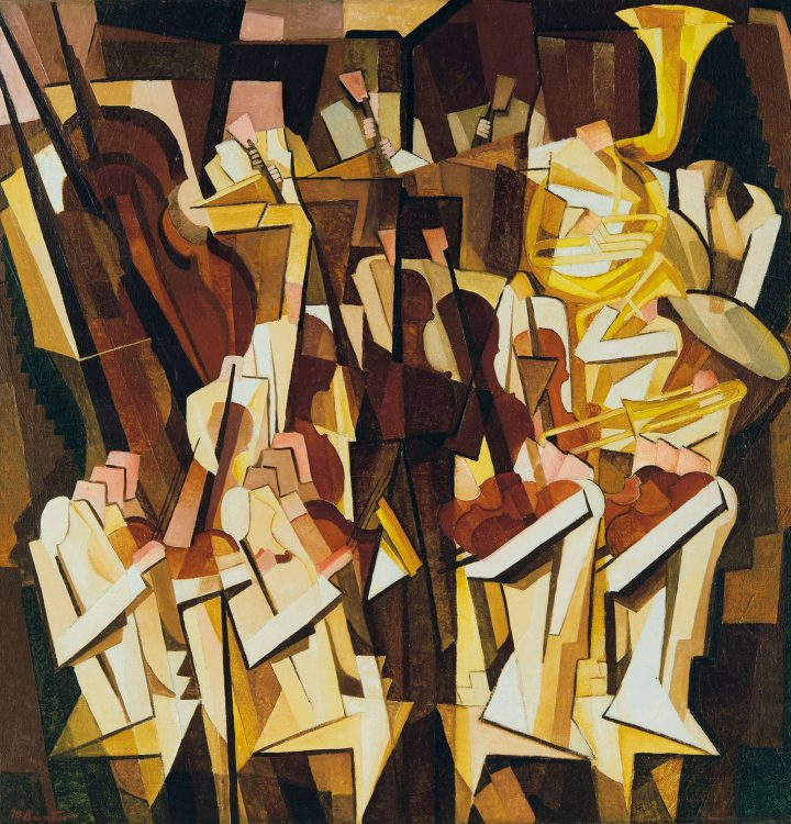 "Morris Kantor, ""Orchestra"" (1923), oil on canvas, 35 1/4 x 34 1/4 inches (image courtesy Christie's)"
