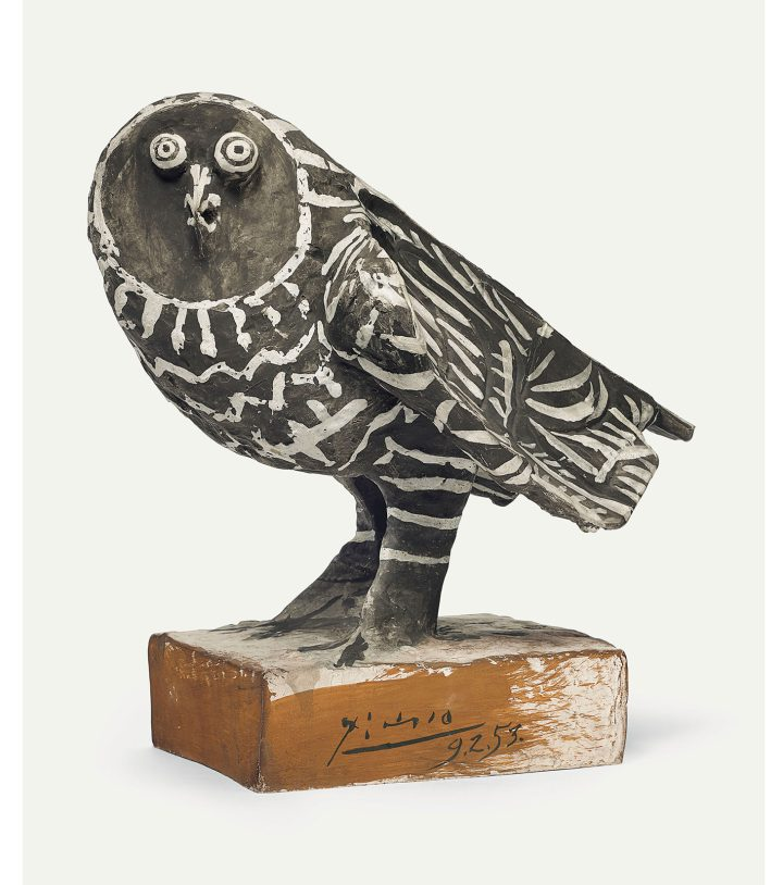 """Pablo Picasso, """"Le hibou gris"""" (1953), painted earthenware, height: 13 5/8 inches (image courtesy Christie's)"""