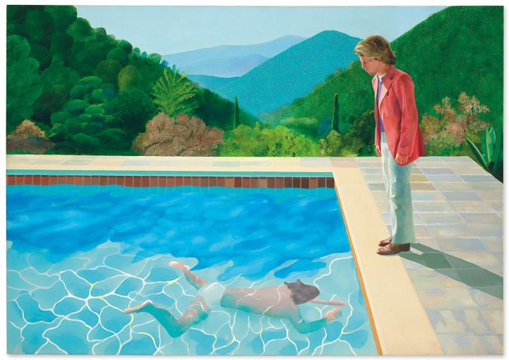 "David Hockney, ""Portrait of an Artist (Pool with Two Figures)"" (1972), acrylic on canvas, 84 x 120 inches (image courtesy Christie's)"