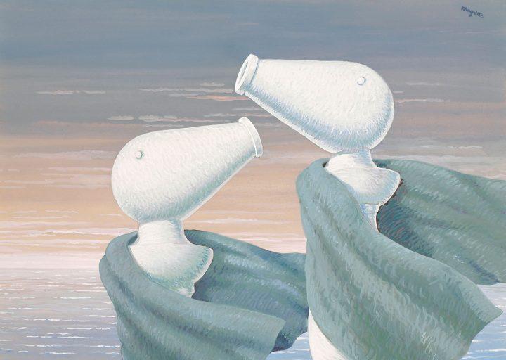 """René Magritte, """"Le colloque sentimental"""" (1946), gouache on paper, 14 x 19 5/8 inches (image courtesy Christie's)"""