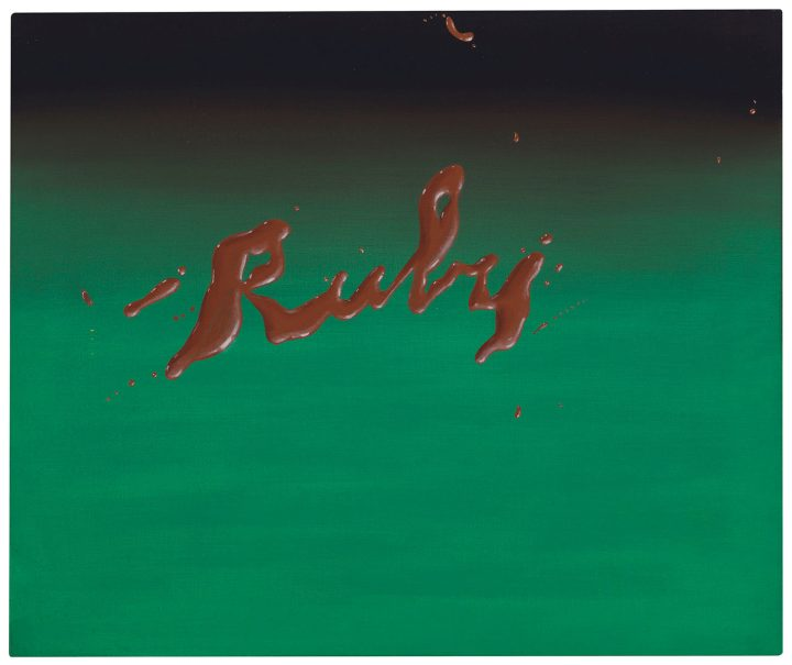 "Ed Ruscha, ""Ruby"" (1968), oil on canvas, 20 x 24 inches (image courtesy Christie's)"