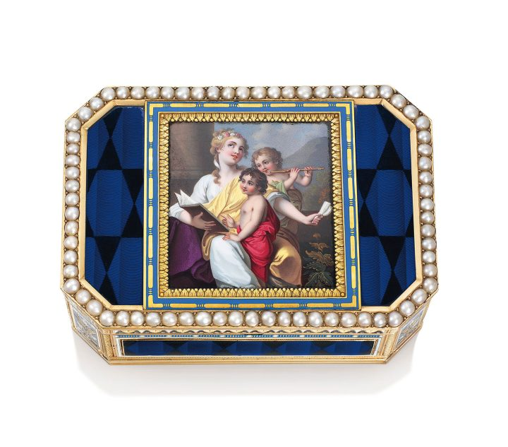 """Guidon, Gide & Blondet Fils, a Swiss jeweled enameled muscial gold snuff-bx with automaton, """"The Music Lesson"""" (c. 1804), 3 3/8 inches (image courtesy Christie's)"""