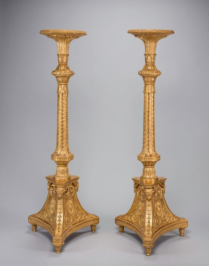 Thomas Chippendale, pair of candle stands (torchères) (c. 1773), gilt-wood and gesso, 60 ½ x 22 x 20 inches (image courtesy The Cleveland Museum of Art)