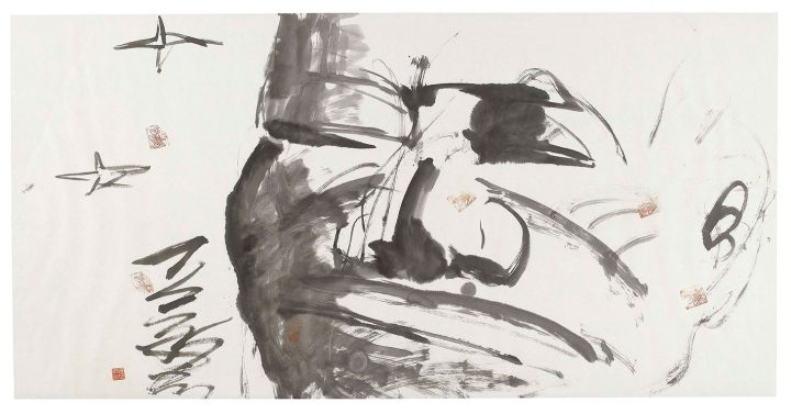 """Yue Minjun, """"Untitled (Portrait)"""" (2007), ink on paper, 27 1/2 x 55 1/8 inches (image courtesy Christie's)"""