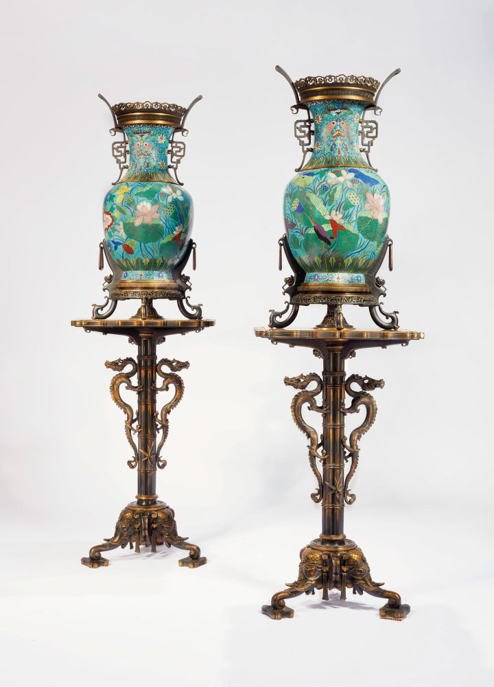 Pair of monumental vases in closed emaux mounted on their bases in bronze patina and gold, China, Qing Dynasty (1796–1820), mounts and bases by Ferdinand Barbedienne, the drawings assigned to Edouard Lievre, second half of Xixeme Century