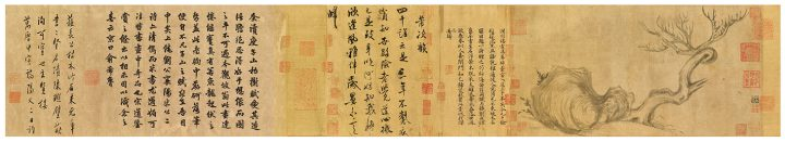 """Su Shi, """"Wood and Rock,"""" handscroll, ink on paper, 10 3/8 x 19 3/4 inches (image courtesy Christie's)"""