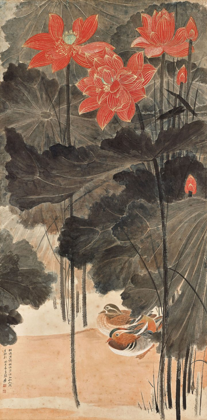 """Zhang Daqian, """"Jiatu map"""" (1943), 65 x 32 1⁄4 inches (image courtesy Christie's)"""
