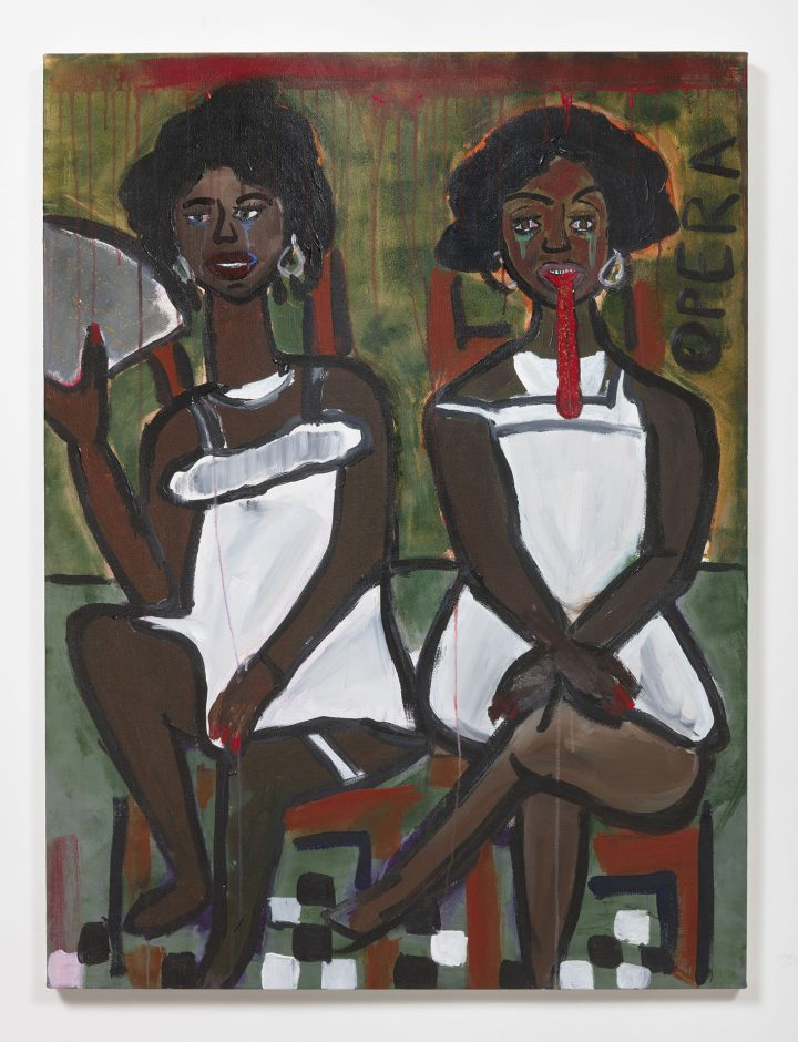 """Cassi Namoda, """"Sasha and Zamani's Tropical Romance"""" (2018), acrylic on canvas, 48 x 36 inches (image courtesy the artist and Ghebaly Gallery, Los Angeles, photo by Robert Wedemeyer)"""