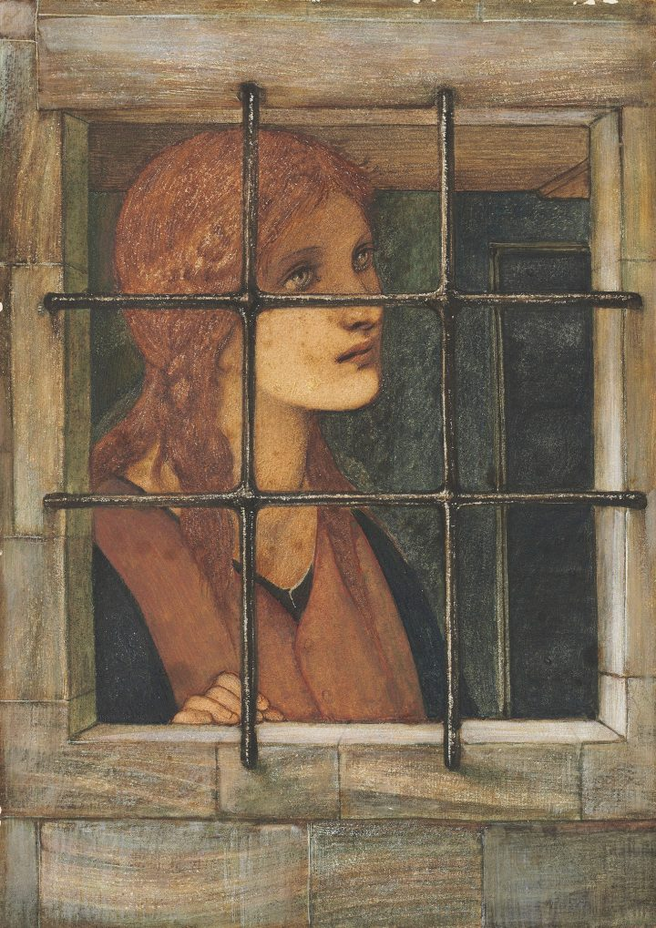 """Sir Edward Coley Burne-Jones, Bt., A.R.A., R.W.S., """"Danaë in the Brazen Tower,"""" pencil, watercolor and bodycolor heightened with touches of gum arabic, and with scratching out on paper, 14 1/8 x 10 inches (image courtesy Christie's)"""
