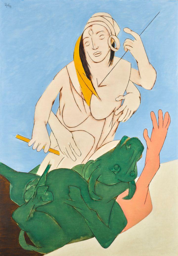 """Tyeb Mehta, """"Durga Mahisasura Mardini"""" (1993), acrylic on canvas, 58 7/8 x 41 1/4 inches (image courtesy Sotheby's)"""