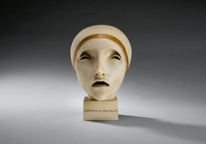 "Adolfo Wildt and Workshop, ""L'Anima e la Sua Veste"" (c. 1916), partially gilt marble, 11 inches overall (image courtesy Sotheby's)"