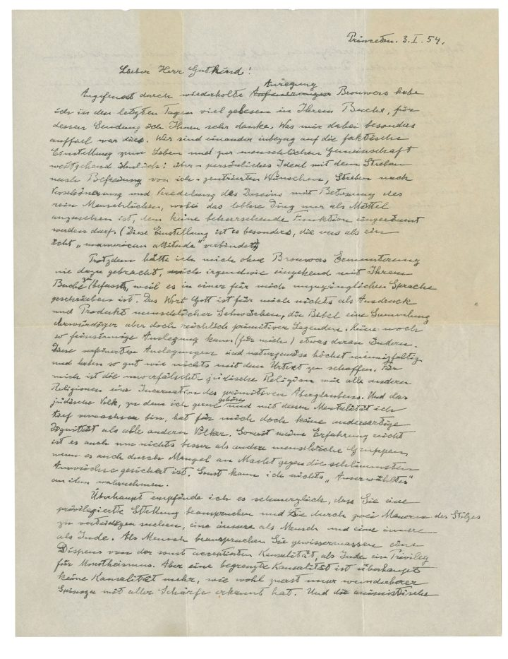"""Albert Einstein, autograph letter signed (""""A. Einstein"""") to Eric Gutkind, Princeton, 3 January 1954, in German, two pages, 215 x 280 mm, bearing several autograph emendations, with original transmittal envelope (image courtesy Christie's)"""