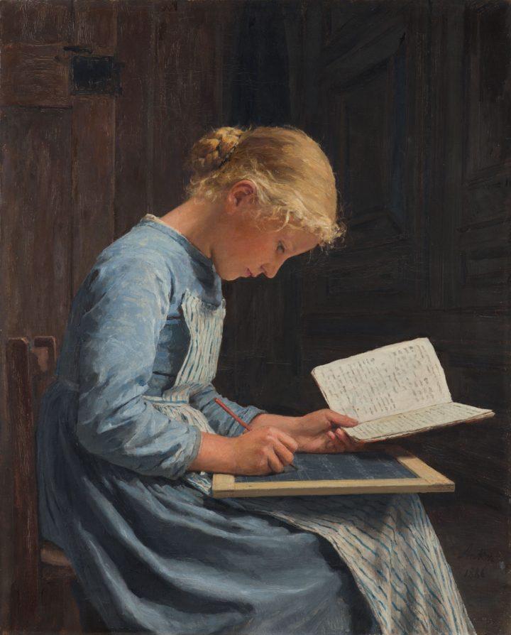 "Albert Anker, ""Fleissig/Appliquée, 1886"" (1886), oil on canvas 61.5 x 50 cm (image courtesy Sotheby's)"