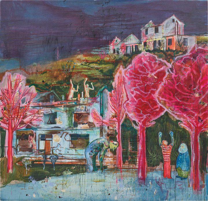 "Daniel Richter, ""Süden"" (2002), oil on canvas, 113 7/8 x 117 7/8 inches (image courtesy Phillips)"