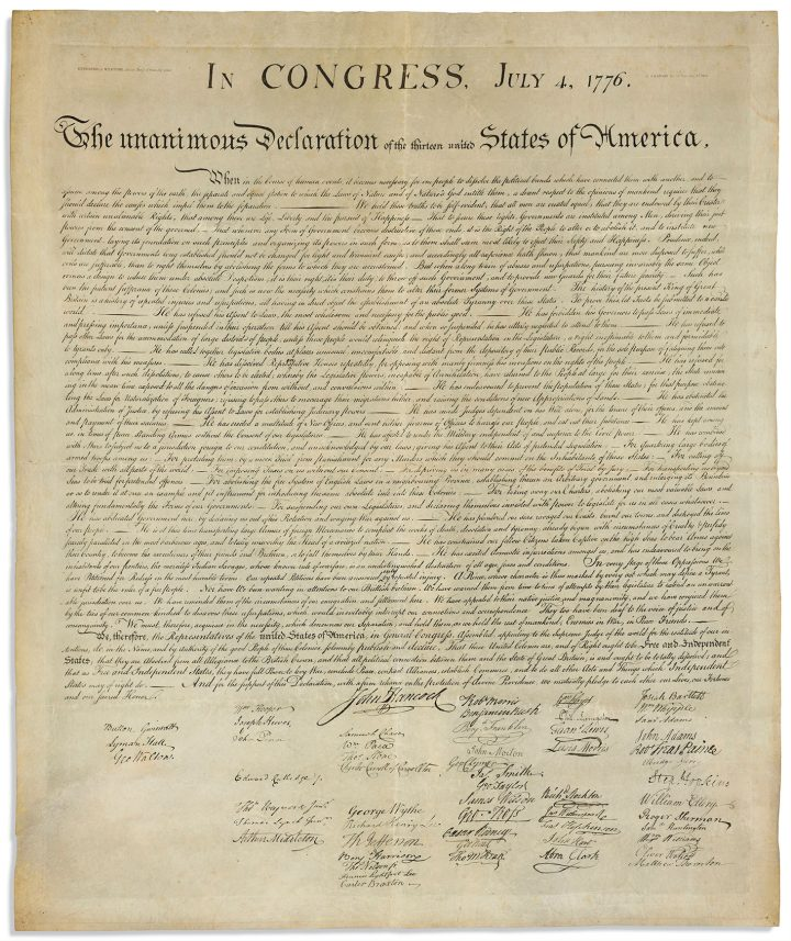Declaration of Independence, in Congress, July 4, 1776, The Unanimous Declaration of the Thirteen United States of America. [Washington:] W. I. Stone for the Department of State, 4 July 1823 (image courtesy Christie's)