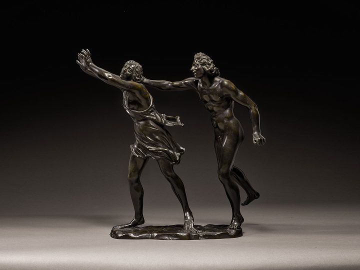 """Attributed to Ferdinando Tacca, """"Apollo and Daphen"""" (c. 1640–1650), bronze, on a later marble base, bronze: 17 1/4 x 17 1/2 inches, base: 3 1/2 x 12 1/4 inches (image courtesy Sotheby's)"""
