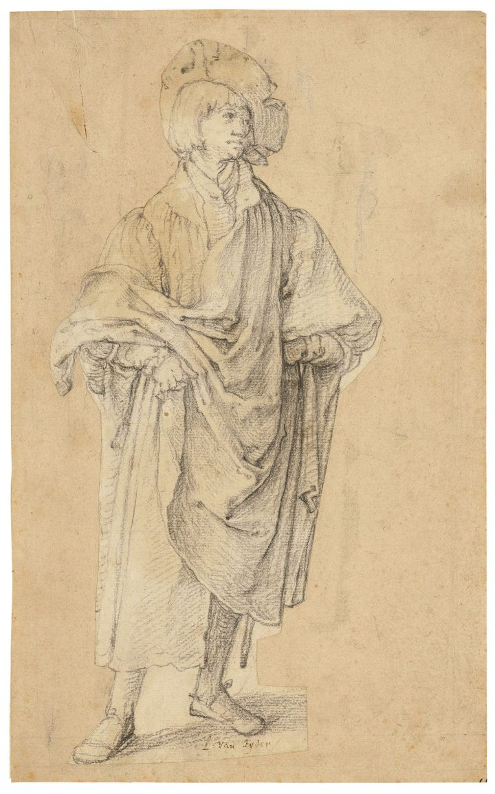 """Lucas van Leyden, """"A young man standing,"""" black chalk, watermark pot with two handles, above crown (Piccard-online, no. 31808, etc.), cut out and laid down, framed, 11 x 5 1/8 inches (image courtesy Christie's)"""