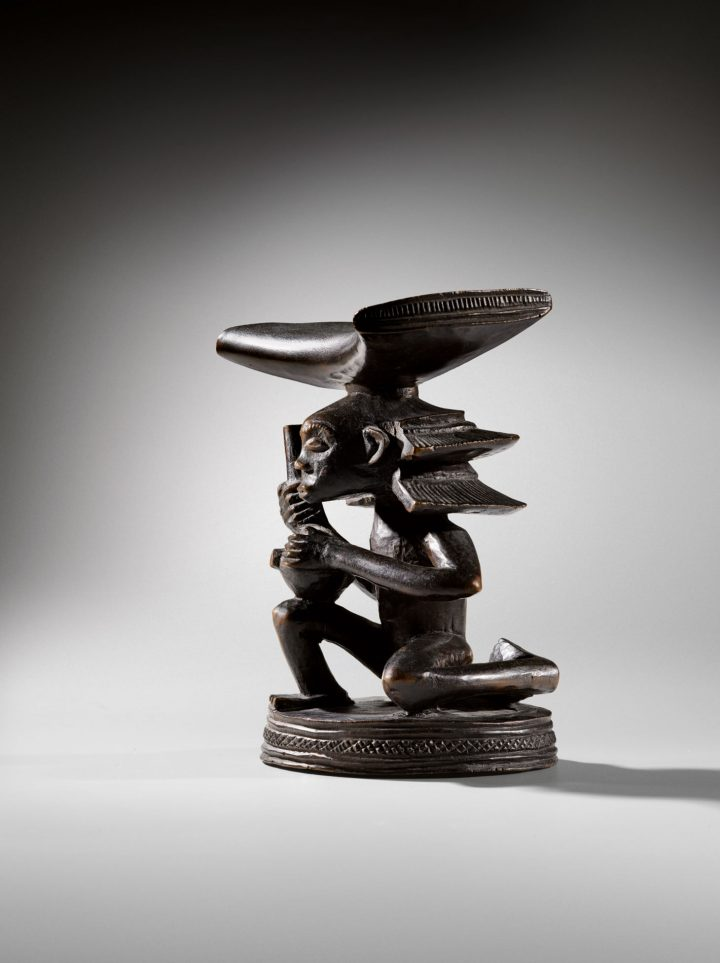 Headrest, Luba-Shankadi, attributed to Master of Cascade Hairdressing, Democratic Republic of Congo, 6 3/4 inches (image courtesy Sotheby's)