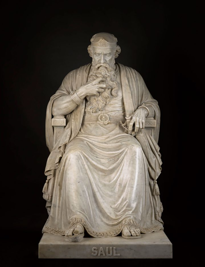 """William Wetmore Story, """"Saul Under the Influence of the Evil Spirit"""" (1865), marble with original marble base in three sections, H. 64 x W. 34 x D. 64 1/2 inches, base: H. 34 1/2 x W. 39 1/4 x D. 68 3/4 inches (image courtesy North Carolina Museum of Art, Gift of Anne Faircloth and Frederick Beaujeu-Dufour in honor of John W. Coffey)"""