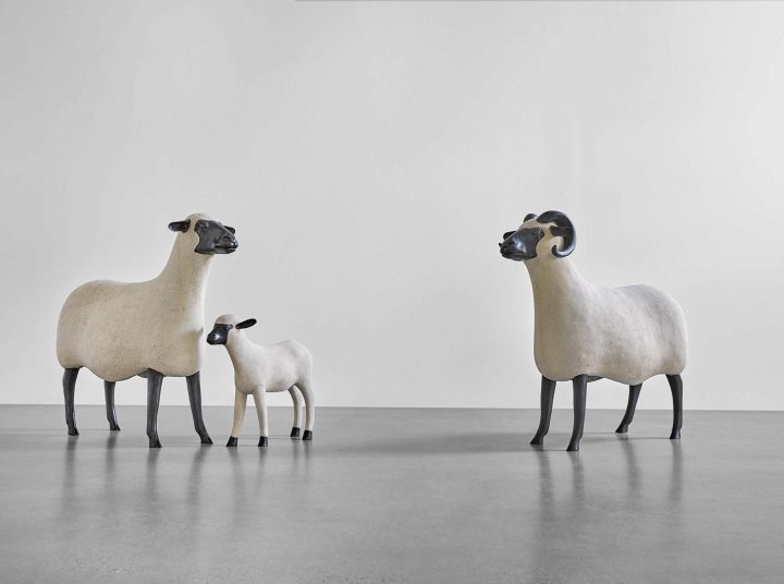 """François-Xavier Lalanne, """"Brebis"""" (1996), """"Bélier"""" (1996), and """"Agneau"""" (1997) from the <em>Nouveaux Moutons</em> series, respectively numbered 103 from an edition of 250, 51 from an edition of 250, and 50 from an edition of 500, epoxy stone, patinated bronze, """"Brebis"""": 36 x 16 x 37 1/2 inches, """"Bélier"""": 36 1/4 x 16 x 38 1/2 inches, """"Agneau"""": 20 1/2 x 6 3/4 x 23 1/2 inches (image courtesy Sotheby's)"""