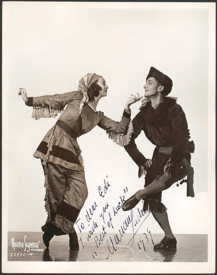 Portrait of Marian Ladre and Sono Osato in costume for Union Pacific, Ballets Russes (photo by Maurice Seymour, Chicago, image via Wikimedia Commons)