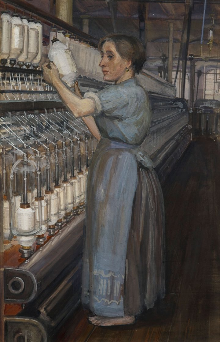 """Sylvia Pankhurst, """"In a Glasgow Cotton Spinning Mill: Changing the Bobbin"""" (1907) (image courtesy the Tate)"""