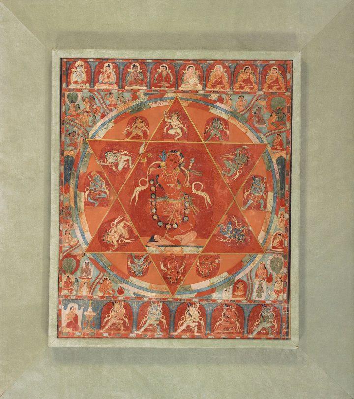 Important Thankgka representing the mandala of Vajravarahi, Tibet, 13th century (image courtesy Christie's)
