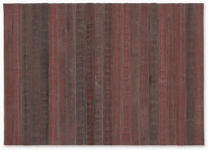 """Theaster Gates, """"A Flag for the Least of Them"""" (2018), decommissioned fire hose, 59 7/8 x 84 5/8 inches (image courtesy Sotheby's)"""