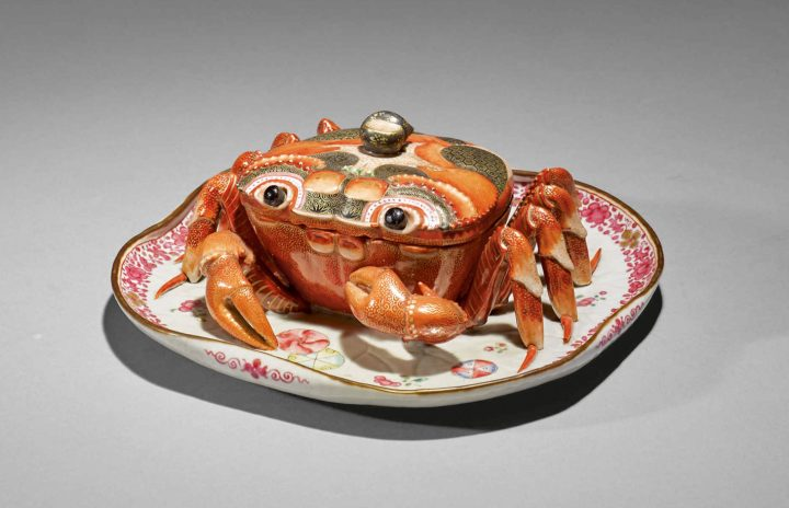 A rare Chinese export crab-form tureen and cover, Qing dynasty, Qianlong Period, width 8 3/4 inches (image courtesy Sotheby's)