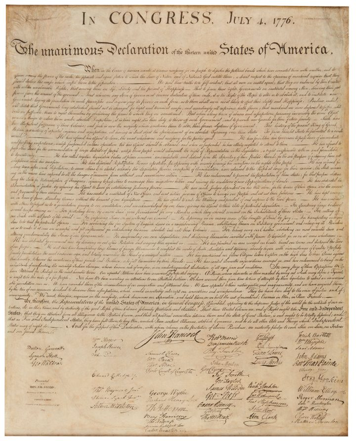 Declaration of Independence, the only known privately held copy of the celebrated William J. Stone facsimile for which provenance can be traced back to a direct ancestor who received in in 1824 (image courtesy Sotheby's)