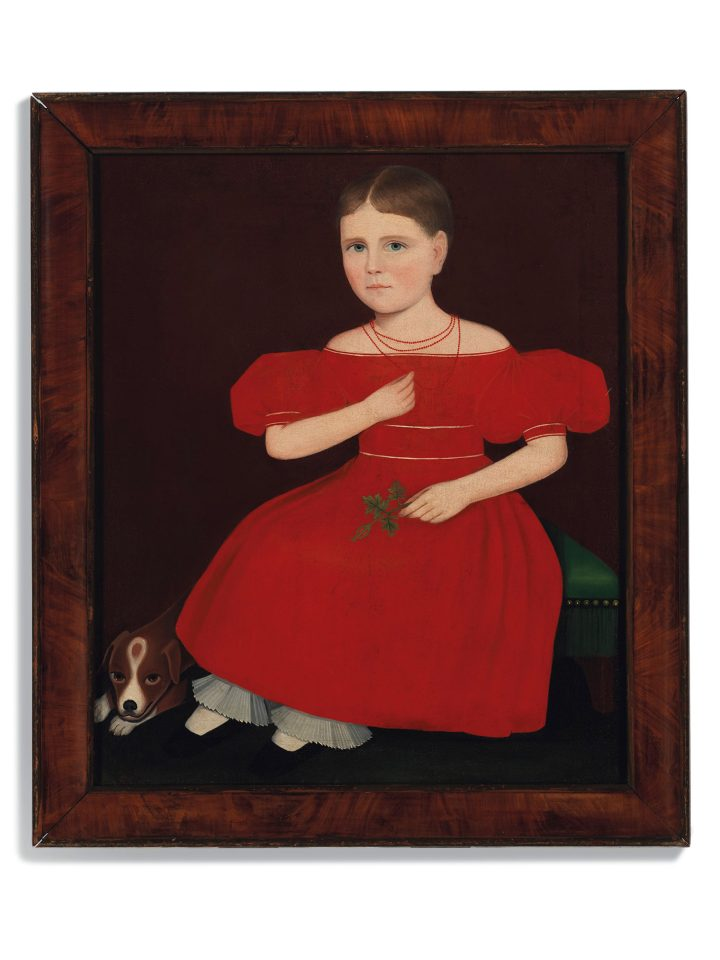 """Ammi Phillips, """"Girl in a Red Dress with a Dog"""" (c. 1830–35), oil on canvas, 32 1/2 x 26 3/4 inches (image courtesy Christie's)"""