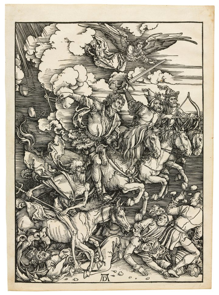 """Albrecht Dürer, """"The Four Horsemen of the Apocalypse, from: The Apocalypse"""" (c. 1497/98), woodcut on laid paper, block 388 x 280 mm., sheet 429 x 305 mm. (image courtesy Christie's)"""