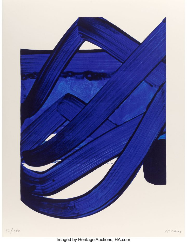 """Pierre Soulages, """"Composition,"""" from <em>Official Arts Portfolio of the XXIVth Olympiad, Seoul, Korea</em> (1988), lithograph in colors on paper, 35 x 27 inches (image courtesy Heritage Auctions)"""