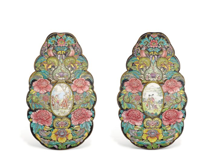 A massive pair of painted enamel plaques, Qianlong Period (1736–95), 29 3/4 inches high each (image courtesy Christie's)