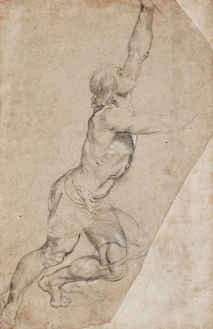 """Sir Peter Paul Rubens, """"Nude Study of a Young Man with Raised Arms,"""" black chalk, heightened with white, the two right corners cut, 19 3/8 x 12 3/8 inches (image courtesy Sotheby's)"""