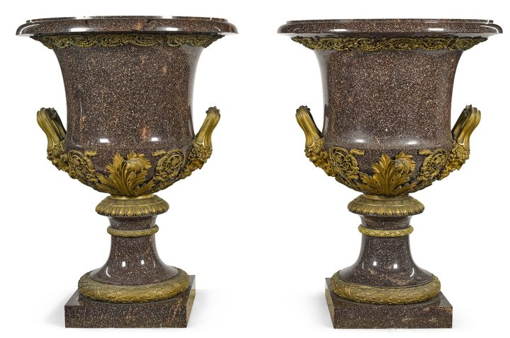 A pair of large scale Swedish gilt-bronze mounted Blyberg porphyry vases, by the Elfdahls Porfyrwerk, the mounts, Paris (c. 1830), 3feet, 3 1/2 inches x 2 feet, 5 inches (image courtesy Sotheby's)