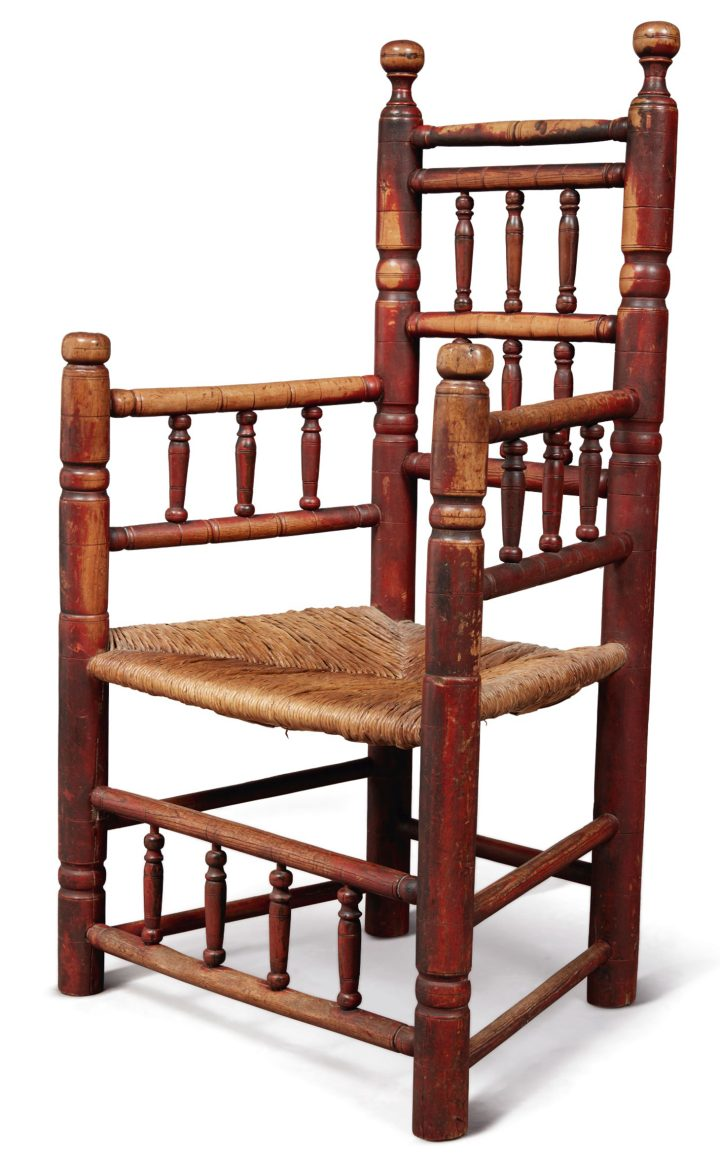 The Important Fairbanks Family Pilgrim Century Turned and Red-Painted Maple Spindle-Back Great Chair, Attributed to Ephraim Tinkham, Plymouth or Middleboro, Plymouth County, Massachusetts (c. 1680), height 41 3/4 inches (image courtesy Sotheby's)