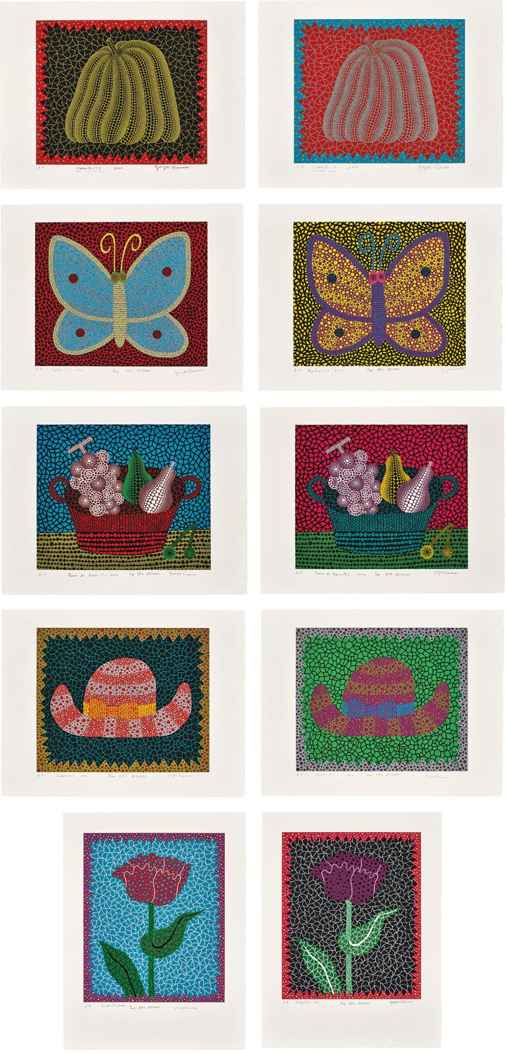 """Yayoi Kusama, """"Amour pour Toujours"""" (2000), the complete set of 10 screenprints in colors with glitter, on BFK Rives paper, with full margins, with accompanying poem by Alain Jouffroy, title page and colophon, the sheets loose (as issued) contained in the original handmade paper and embossed leather portfolio, portfolio 26 1/8 x 20 1/4 inches, eight S. 19 5/8 x 25 5/8 inches, two S. 25 5/8 x 19 5/8 inches (image courtesy Phillips)"""