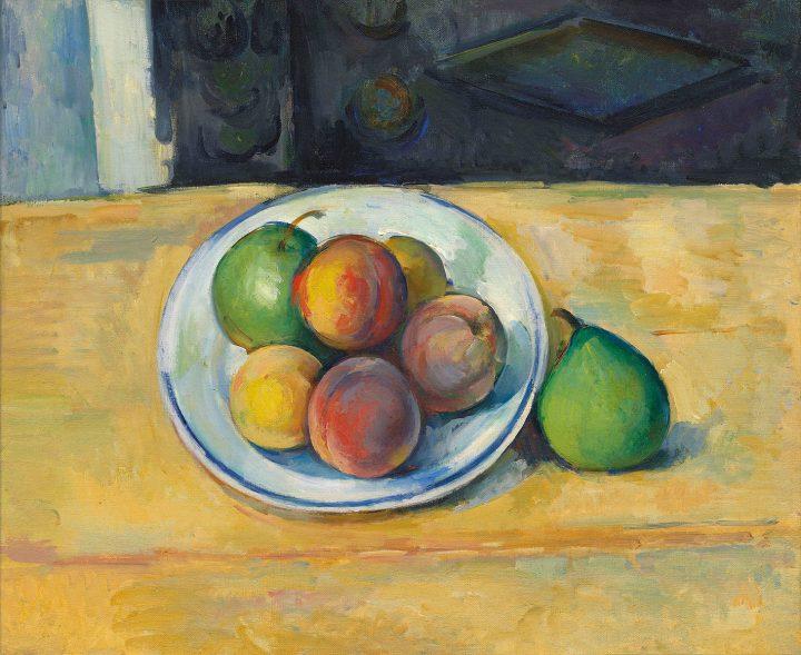 """Paul Cézanne, """"Nature morte de pêches et poires"""" (1885–87), oil on canvas, 15 x 18 1/8 inches (image courtesy Chrisitie's)"""