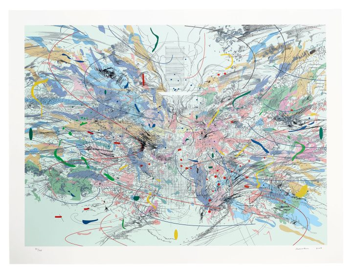 """Julie Mehretu, """"Entropia (review)"""" (2004), lithograph and screenprint in colors, on Arches 88 paper (image courtesy Christie's)"""