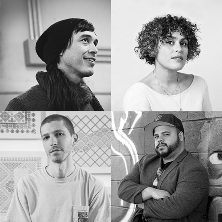 From top left to right bottom: Cannupa Hanska Luger (photo by Zachary C. Person, image courtesy the artist), Marianna Schaffer (photo by Jessie English), Roberto Lugo (photo by Jewellea Photography, image courtesy Wexler Gallery, Philadelphia), Jordan Nassar (photo courtesy the artist)