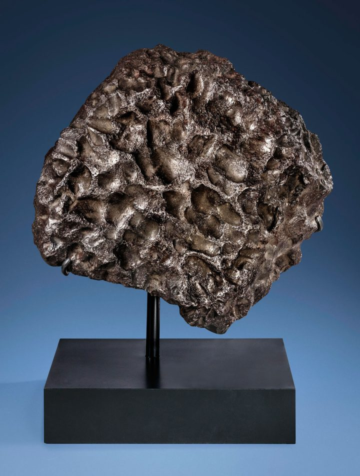 Massive sculpture from outer space — Aesthetic campo del cielo iron meteorite, iron, coarse octahedrite – IAB-MG (14 3/4 x 13 3/4 x 9 2/3 inches (image courtesy Christie's)